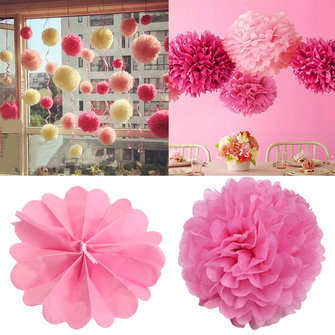 20pcs Tissue Paper Pom Poms Flower Balls Wedding Party Home Outdoor Decoration