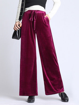 S-5XL Women Casual Loose Velvet Wide Leg Pants