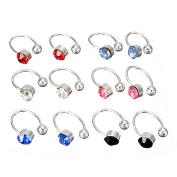 2Pcs No Piercing 6 Colors Crystal Rhinestone Nose Lip Ring Cuff Clip Earrings for Women