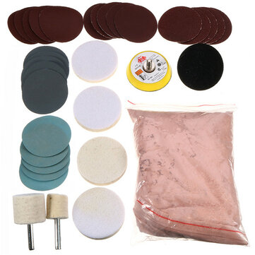 34pcs Glass Polishing Kit 8Oz 230g Cerium Oxide Powder with Polishing Pad Wheel and Sandpaper