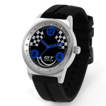 GT 001 Men Sport Fashion Silica Gel Strap Racing Car Style Quartz Wrist Watch