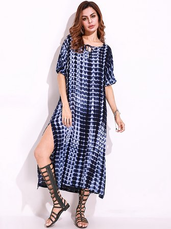 Snake Print Dyeing Split Tie Short Sleeve Maxi Dress For Women