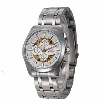 Gucamel GT07 esqueleto de acero inoxidable Banda Mecánico reloj para hombre