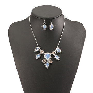 JASSY® Fine Jewelry Set Elegant Platinum Plated White Opal Crystal Gemstone Women Necklace Earrings