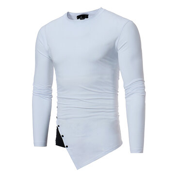 Autumn Concise Bumped Irregular Hem T-shirt Men's Casual Stiching Color Buttons Long Sleeve Tops