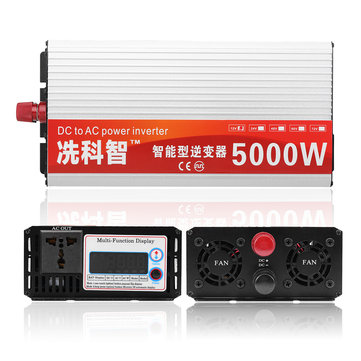 DC 12V/24V/48V To AC 220V 5000W Pure Sine Wave Intelligent Power Inverter Dual LCD Display Converter
