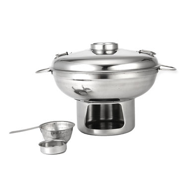 22cm Stainless Steel Shabu Hot Pot Multi-Cooker With Alcoho Burner and Lid