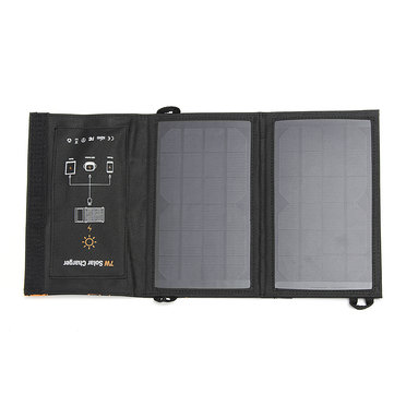 7W 5V 1.4A Foldable USB Output Solar Panel Power Bank Solar Charger