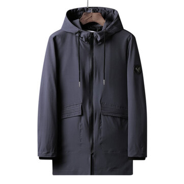 Men's Outdoor L-7XL Windproof Hooded Trench Coat