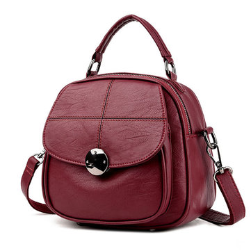 Women Solid Vintage Leisure Multi-function Handbag Waterproof Backpack