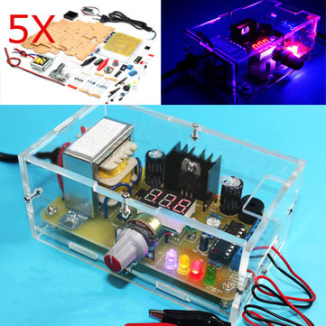 5Pcs Geekcreit® EU Plug 220V DIY LM317 Adjustable Voltage Power Supply Board Learning Kit With Case