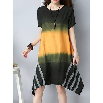 Women Vintage Gradient Patchwork Dresses Short Sleeve Irregular Hem Dress