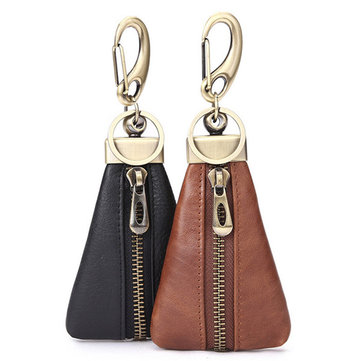 Genuine Leather Zipper Hanging Car Smart Keys Holder Case Coin Purse Keychain Wallet Key Ring