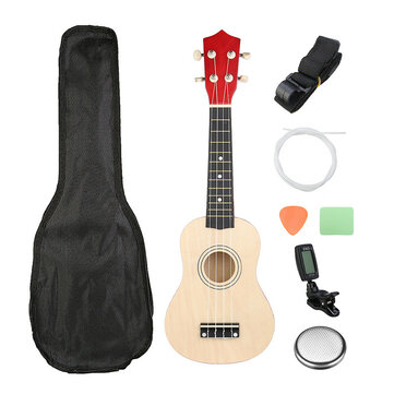 21 Inch Burlywood Soprano Ukulele Uke Hawaiian Guitar 12 Fret With Tuner Strap Carrying Bag