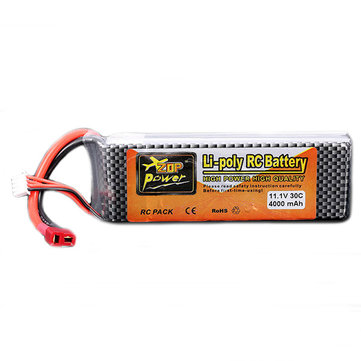 ZOP Power 11.1V 4000MAH 3S 30C Lipo Battery T Plug for JLB 21101 Car