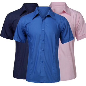 Cheap Fashion Multi-Color Stand Collar Men Short-sleeve Dress Shirt