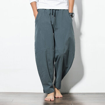 Men's Loose Wide Leg Pants Solid Color Casual Baggy Breathable Cotton Harem Pants