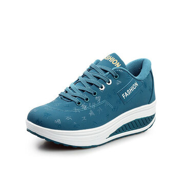 Women Sneakers Artificial Leather Breathable Sports Shoes Thick Soles Platform Shoes
