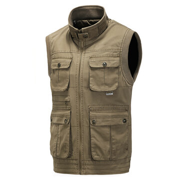 Autumn Winter Warm Cotton Outdooors Vest Casual Multi Pocket Outdooors Fishing Waistcoat