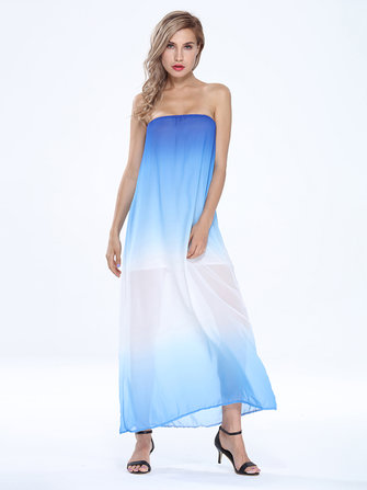 Sexy Women Strapless Gradient Stripe Chiffon Maxi Dress