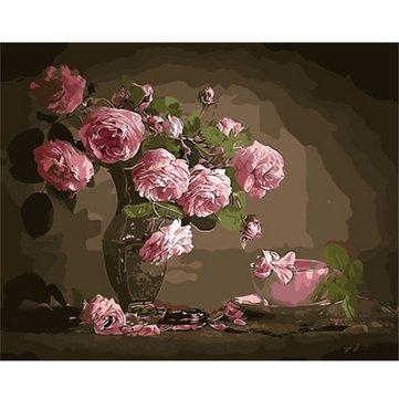 40X50CM 새로운 핑크 꽃 꽃병 그림 DIY 셀프 손으로 그린 그림판 키트 나무 프레임 홈 장식