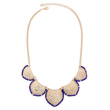 Gold Statement Collar Chain Leaves Choker Colar Pendant Necklace For Women