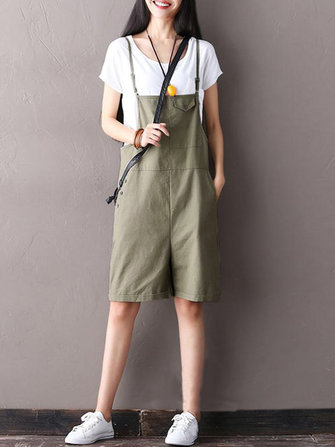 Women Strap Pocket Button Jumpsuits