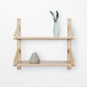 Xiaomi HuoXu Natural Solid Wood Wall Mount Shelf Shelves Bracket Nordic Curved Storage Display Bookshelf