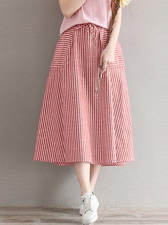 Women Casual Stripe High Elastic Waist Loose Skirts