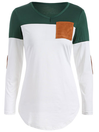 Women Long Sleeve Patch T-shirt O-Neck Patchwork Pocket Casual T-shirts