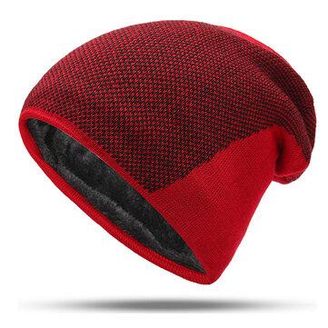 Mens Winter Warm Plus Velvet Beanie Hip-hop Knitted Hat