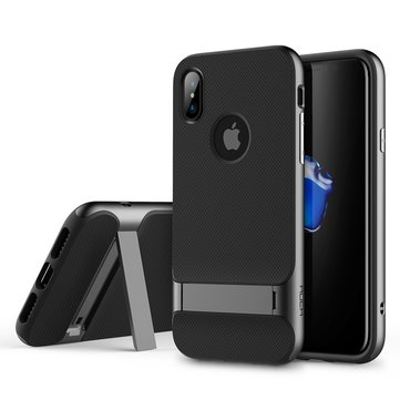 Rock Kickstand Fingerprint Resistant Textured Case For iPhone X
