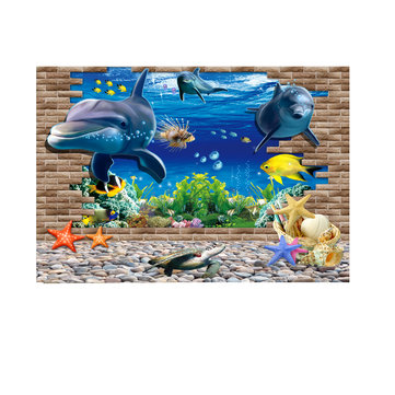 PVC Waterproof Single Side Ocean Natural Landscape Fish Bowl Aquarium Sticker Glass For Aquarium Background Poster Wall Picture Decorations