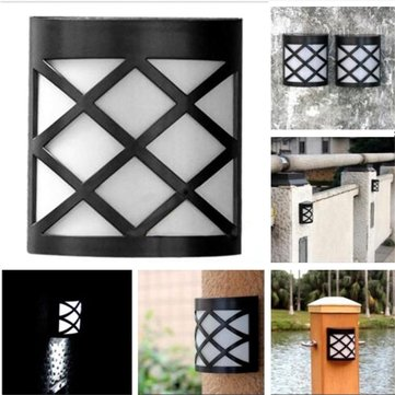 6 LED Wall Waterproof Retro Solar Powered Lights Outdoor Garden Yard Fence Lamp