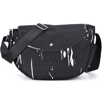 Women Washcloth Black Printing Shoulderbags Hobo Crossbody Bags
