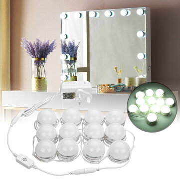 AC100-240V 24W 12PC Hollywood Style LED Vanity Makeup Dressing Table Mirror Light Kit + UK Plug