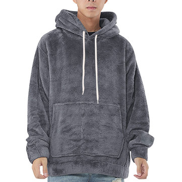 Mens Fleece Solid Color Big Pocket Sweatshirts