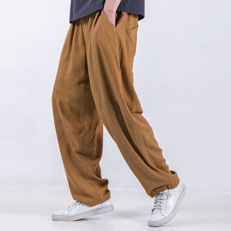 Men's Casual 100% Cotton Baggy Solid Color Loose Drawstring Harem Pants