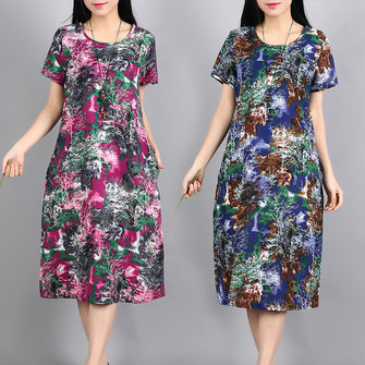 Ethnic Women Short Sleeve O-Neck Printed Dresses