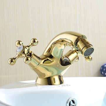 WANFAN WF-7313K Home Bathroom Bidet Gold Dual Rotating Handles Hot and Cold Water Sink Faucet Mixer Faucet