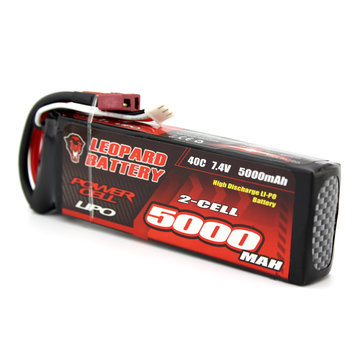 Leopard Power 7.4V 5000mAh 40C 2S T Plug Lipo Battery for 1:8 / 1:10 RC Car