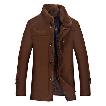 Mens Winter Mid Long Woolen Coat Thick Warm Trench Coat