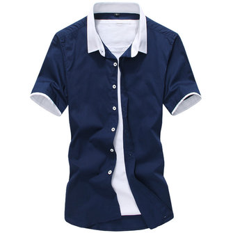 Mens Splice Contrast Color Summer Fashion Slim Shirts