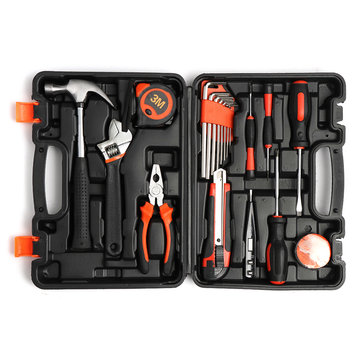 19Pcs Multifuntional Tools Set Steel Household Woodworking Kit Hardware Toolbox