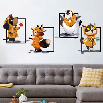 Happy Cute Little Squirrel Rainy Day Color Wall Stickers Living Room Removable Glass Wall Stickers