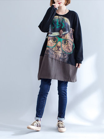 Plus Size Casual Women Cat Splicing Sweatshirt Dress
