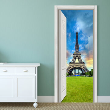 88X200CM PAG Imitative Door 3D Wall Sticker Ocean Desert Eiffel Tower Ajar Door Home Wall Decor Gift
