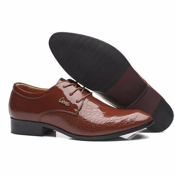 Men Comfortable Leather Lace Up Formal Business Shoes