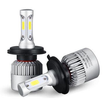 72W 8000LM COB LED Car Headlights Fog Lamps Bulbs H4 H7 H11 9005 9006 6500K White 2Pcs