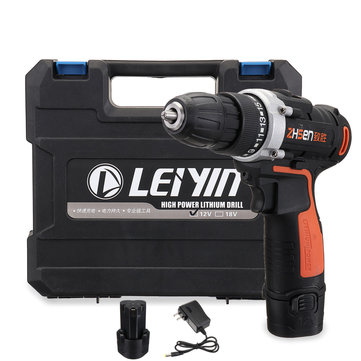 12V 15 Torque Electric Cordless Drill LED Lighting Rechargable 1/2 Li-Ion Battery Double Speed Power Drills